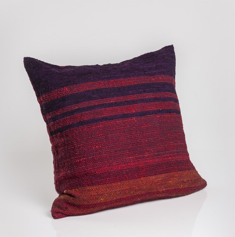 BLUE, RED AND MUSTARD PILLOW COVER