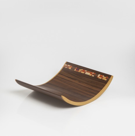 DARK WOOD CURVED TRAY