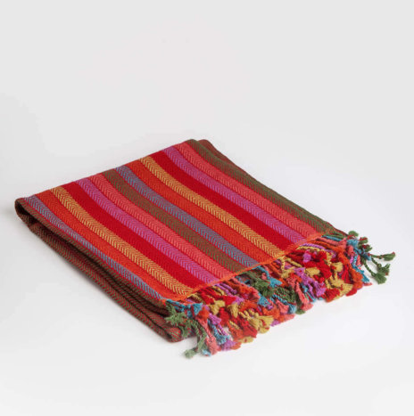 RED STRIPED ALPACA THROW