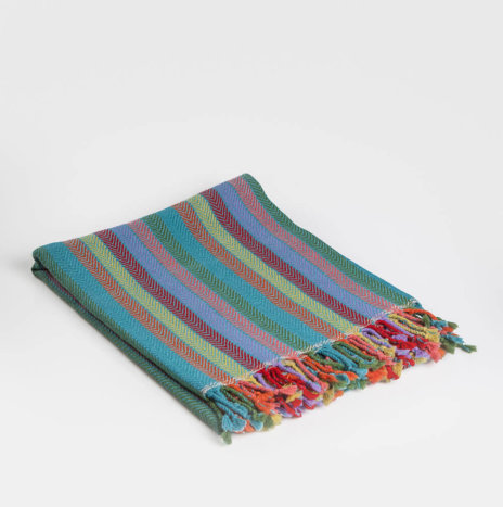 Blue Striped Alpaca Throw
