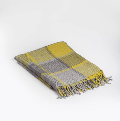 CHECKED ALPACA THROW