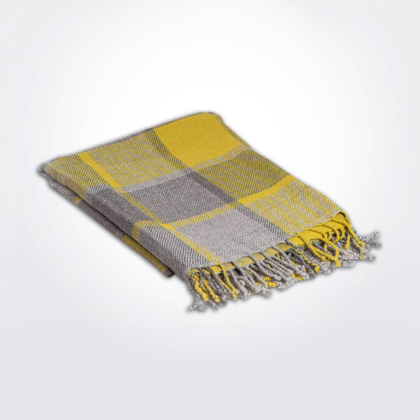 Checked alpaca throw gray background.