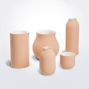 Beige decorative vase set complete pieces.