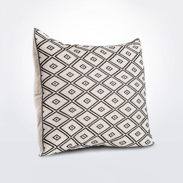 Black and white pillow cover product photo.