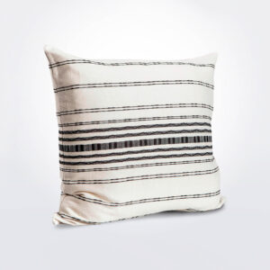 Black and white striped pillow cover product photo.