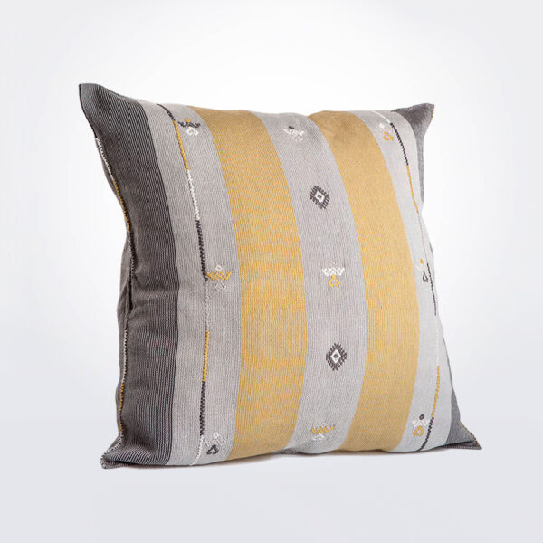 Gray and gold mexican pillow cover.