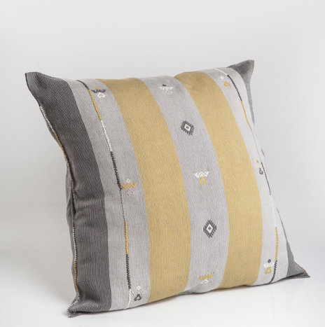 GRAY AND GOLD MEXICAN PILLOW COVER