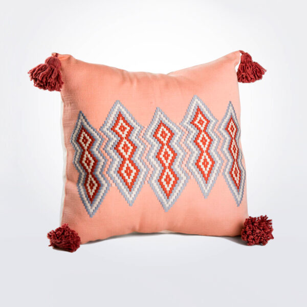 Guatemalan pink pillow cover product photo.
