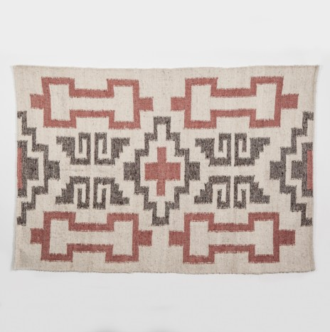 MAYAN BROWN & PINK WOOL RUG