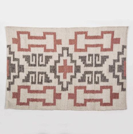 Mayan Gray & Pink Wool Rug