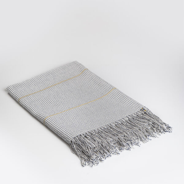 Mexican hand woven tablecloth coverlet large gray background.