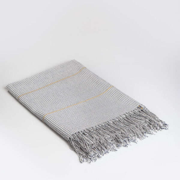 Mexican handwoven tablecloth coverlet medium gray background.