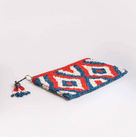 RED & BLUE CERAMIC BEADED CLUTCH