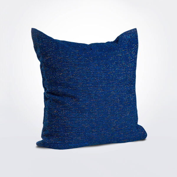 Shiny blue pillow cover product photo.