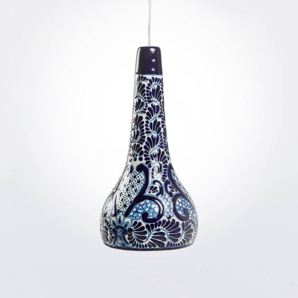 Talavera style pendant lamp product photo.