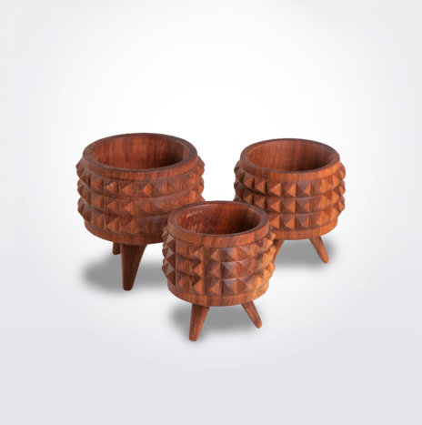 Wooden Plant Pot Set