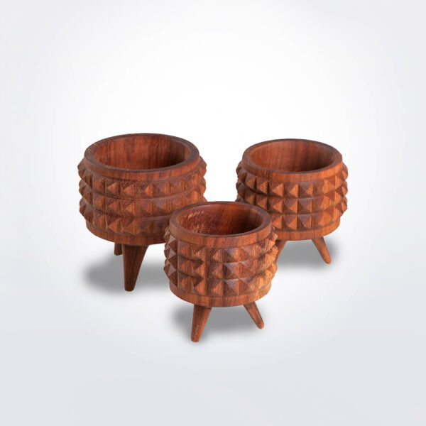 Wooden plant pot set product picture.