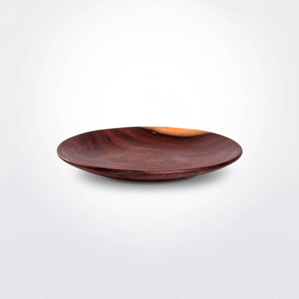 Wooden plate set gray background.