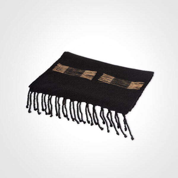 Black table runner product picture.