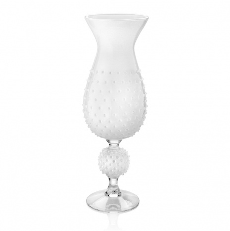 WHITE GLASS SPIKY VASE