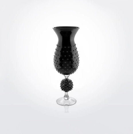 Black Glass Spiky Vase
