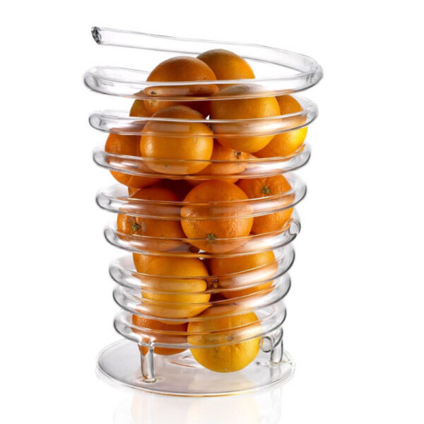 Blown glass fruit container white background.