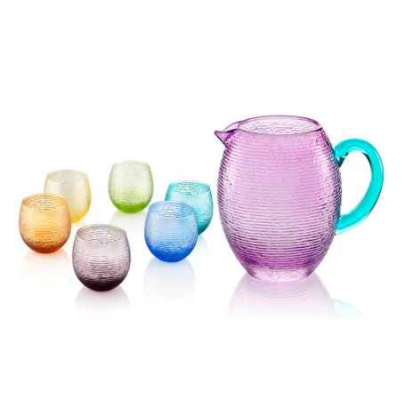 COLORED GLASS JAR & BEAKER SET