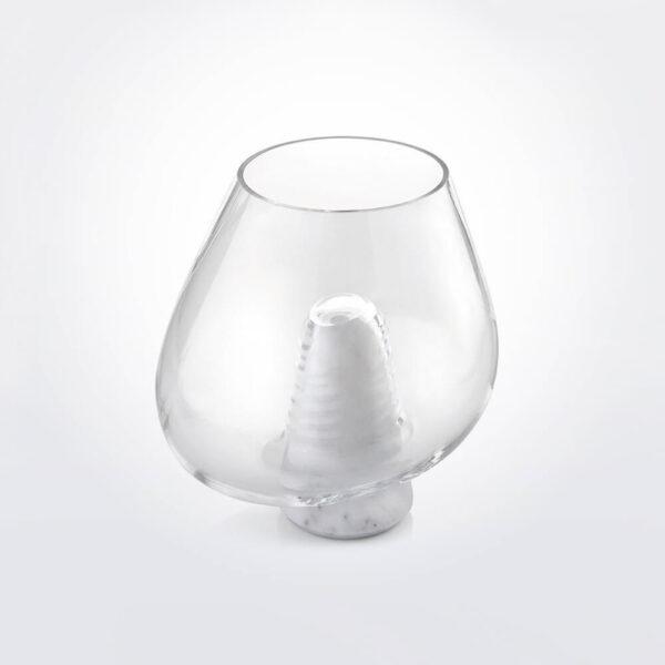 Cumuli clear white glass vase.