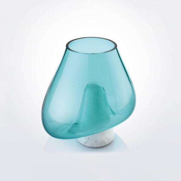 Cumuli turquoise glass vase.