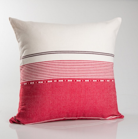 White and Pink Striped Pillow