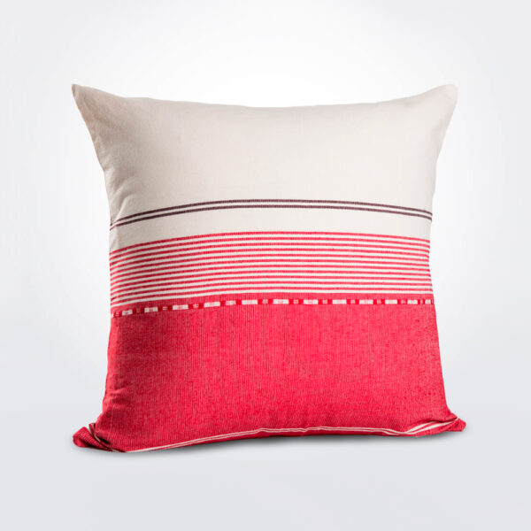 White and pink striped pillow product photo.