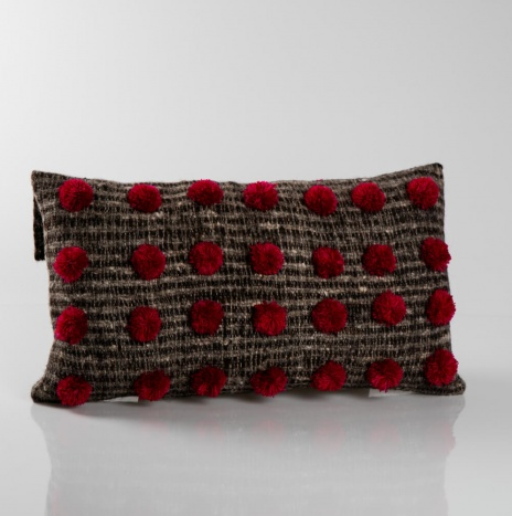 POM POM BROWN WOOL PILLOW COVER