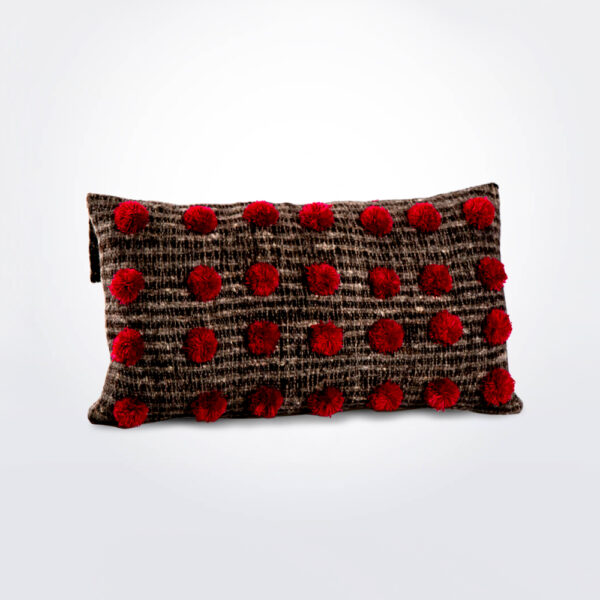 Pom pom brown wool pillow cover.