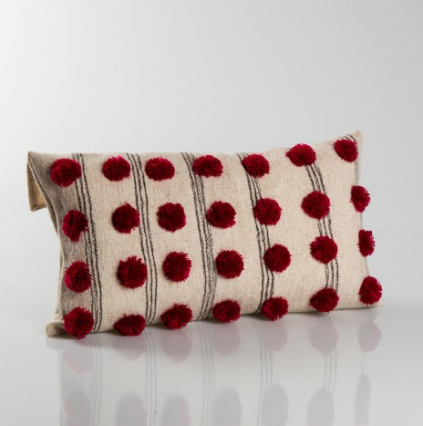 POM POM BEIGE WOOL PILLOW COVER