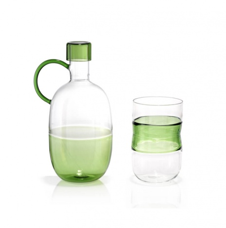 ROUND GREEN DECANTER SET