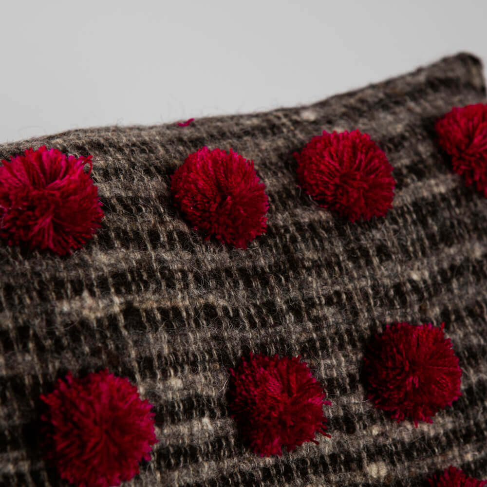 Pom-pom-brown-wool-pillow-cover