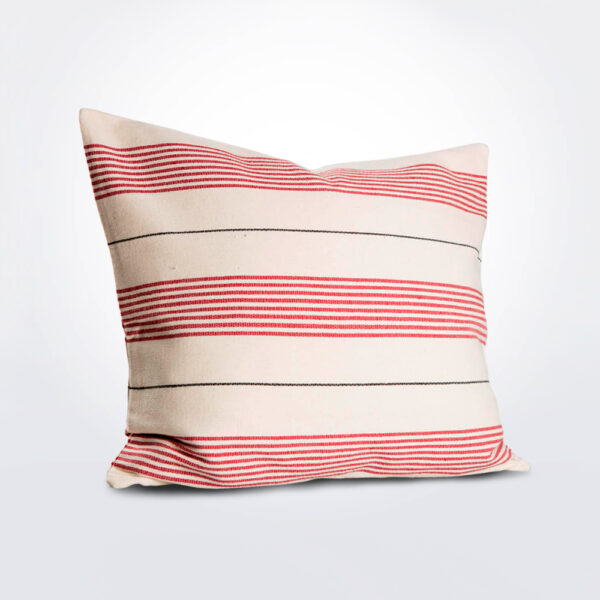 White and red striped pillow cover.