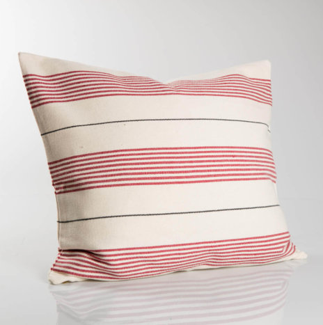 WHITE AND RED STRIPED PILLOW COVER