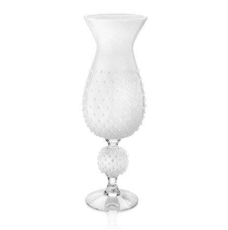 WHITE GLASS SPIKY VASE