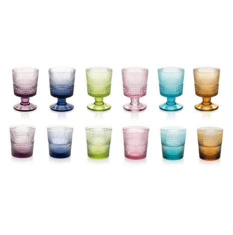 COLORED GLASS AND CUP SET
