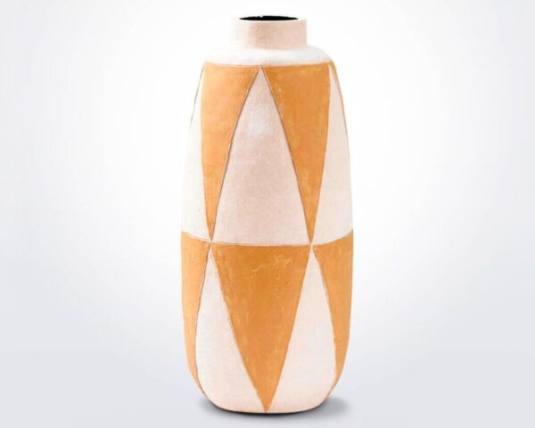 Geometric clay vase product photo.