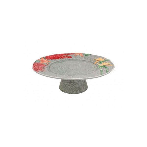 Ceramic cake stand on white background.