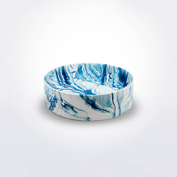 Dark Blue water marble bowl.