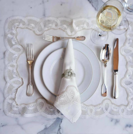 White Placemat and Napkin Set