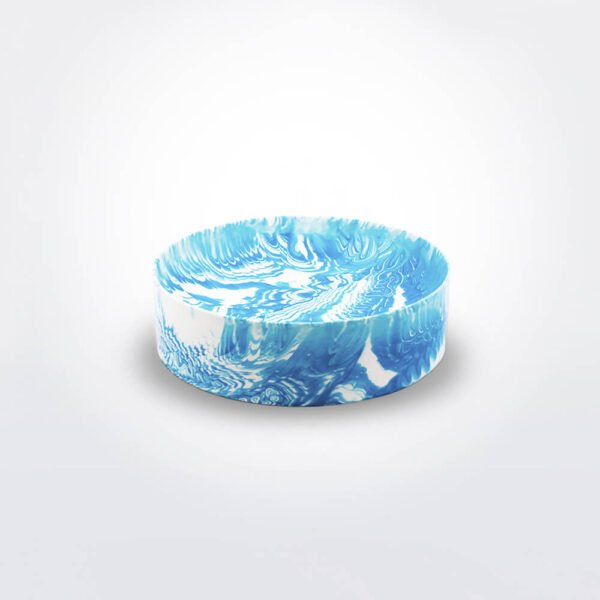 Light blue water marble bowl .
