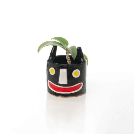 CERAMIC BLACK SMALL PLANTER POT II
