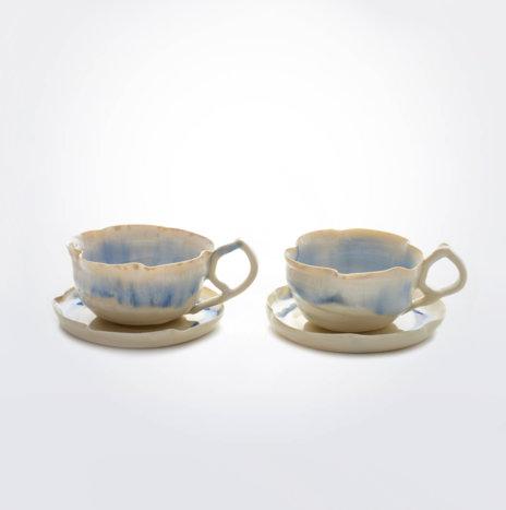 White & Blue Porcelain Cup Set