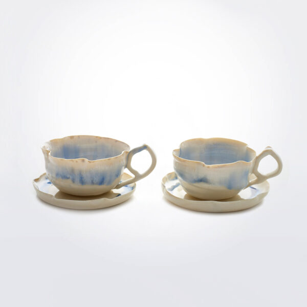 White and blue porcelain cup set product picture.