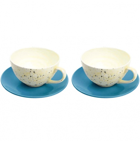 CERAMIC CUP AND SAUCER, SET OF 2