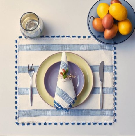 NAVY STRIPED PLACEMATS AND NAPKINS SET